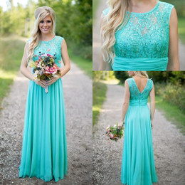 Wholesale Turquoise Sashes - 2017 Cheap Country Turquoise Mint Bridesmaid Dresses Illusion Neck Lace Beaded Top Chiffon Long Plus Size Maid of Honor Wedding Party Dress