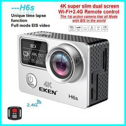 Câmera wifi alta on-line-Alta Qualidade EKEN H6S Esporte Câmera 2.0 + 0.95 Dual Screen Full Mode EIS Vídeo 4K WIFI 170 Super Lens Câmeras de Ação À Prova D 'Água