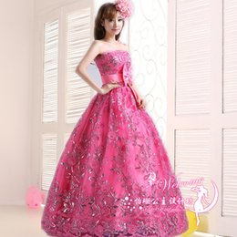 Wholesale Organza Rose Bow - Rose Red Lace Embroidey Luxury Quinceanera Dresses 2016 Princess Strapless Sleeveless Banquet Plus Size Stage Performance Dress