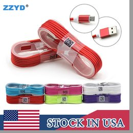 Wholesale Iphone Color Cables - ZZYD 1.5M 5ft Type-c Fabric Braided Micro USB Cable Data & Cables Line Charger Cords For Samsung HTC V8 Wire
