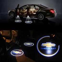 Wholesale Chevrolet Lights - 1Pair Wireless LED Car Door Light Chevrolet Welcome Lamp Laser ghost Shadow Light led Projector Wireless Car Door Light for Chevrolet