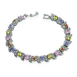 Wholesale Bracelet Tennis Multicolor - New Rainbow Multicolor Cubic Zircon Charm Tennis Bracelet High Quality Gift for Lover Wedding Bridal Jewelry