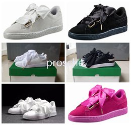Wholesale Round Box Bow - hot sale suede basket heart satin black white and pink flat shoes casual shoes silk banded bow goddess shoes with box 36-40