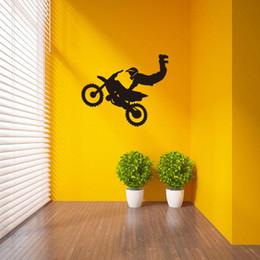 Wholesale 57x69 cm Karikatür Spor Motosiklet Vinil Duvar Çıkartmaları Çıkarılabilir Sanat Mural Ev Dekorasyon Çocuklar için Yatak Odası