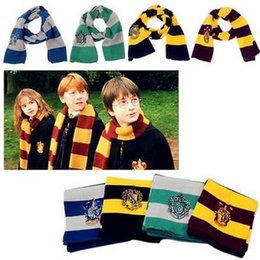 Wholesale College Scarves - Wholesale-17CM*150CM New Fashion 4 Color College Harry Potter Vouge Gryffindor House Cosplay Knit Wool Costume scarf With Badge Wrap