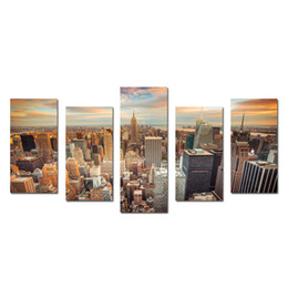 Wholesale Wall Poster New York - New York Cityscape Empire States Building Split 5 Panel Canvas Wall Art for Living Room Canvas Artwork Posters And Prints Wall Hangings