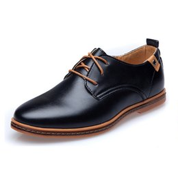 Wholesale Cheap Leather Office - New 2017 Men Leather Shoes Casual Lace-up Shoes Black Brown Flat Cheap Leather Loafers Oxford shoes