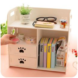 Wholesale Magazine Book Boxes - Wholesale- DIY Office Desk Sets Cabinet Organizer White Wooden Storage Box Book Magazine Racks For Office