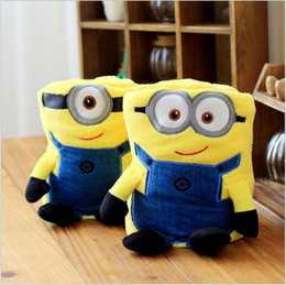 Wholesale Plush Pillows Minions - 300 BBA466 baby 2 color minions conditioning blanket pillow Despicable me cushion plush toys dolls minion office nap blankets christmas gift