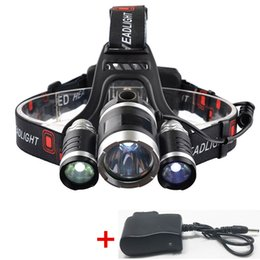 Wholesale Hunting Headlamps - Outdoor Waterproof LED Headlamp Rechargable 3XT6 LED Bright Headlight 4 Modes for Fishing,hunting,camping,bike Flashlight with Charger