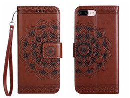 Wholesale Leather Flower Wallet - Flip Cover For iPhone 5 6 6s 7 8 Plus Case Leather Wallet Luxury Court Flower For iPhone6 iPhone7 Case Flip Cover