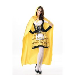 Wholesale Red Hood Cosplay - New Arrival Women Halloween Little Red Riding Hood Cosplay Theme Costume 3 Pieces Yellow Fancy Princess Dress with Cloak Outfits A413007