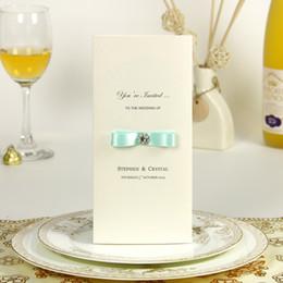 2019 свадебные платья Доступные исключительно светло-голубая лента свадебные пригласительные открытки со стразами / сохранить дату / свадебный душ карты- # FRESH