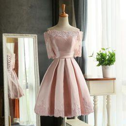 Wholesale Teen Knee Length Party Dresses - 2017 Blush Bateau Neck Short Bridesmaid Dresses Half Sleeve Taffeta Lace Appliqued Formal Wedding Party gowns Knee Length Teen dress
