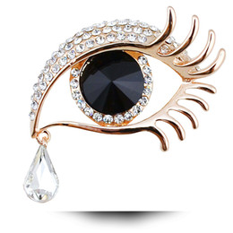 Wholesale Bridal Tear Drop Jewelry - 9 color Angel Tears Bridal Brooches for Wedding Crystal Brooch Rhinestone Hijab Pins Gold Silver Costume Jewelry Brooches Wholesale