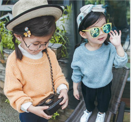 Wholesale Girls Sweet Coat - 2016 Autumn New Baby Girl Knitting Sweaters Coat Sweet Loose Pullover Children Clothes 2-5T QY8607