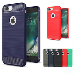 Wholesale Fiber Black - Carbon Fiber TPU Case Hybrid Armor Cases Shockproof Brushed Back Cover For iPhone X 8 7 6 6S Plus 5S Samsung S7 edge S8 Plus Note 8