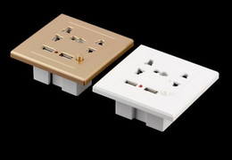 Placa de tomada on-line-Chegam novas Dual USB Elétrica Wall Charger Dock Station Tomada Power Outlet Panel Plate