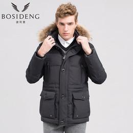 Wholesale men s coats raccoon fur - Wholesale- BOSIDENG men's clothing medium-long down thickening slim raccoon fur down coat winter jacket hooded warm big large size b1401071