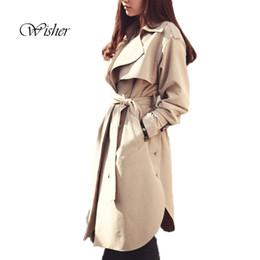 Wholesale Women S Down Coat Belt - 2016 Spring New Trench Coat Women Turn Down Collar Plus Size Women Trench Coat With Belt Oversize Beige Trench Coat Femme