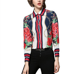 Wholesale Office Fit - OL Work Office Ladies Shirts Clothe Women Casual Blouse Slim Fit Long Sleeve Chain Floral Printing Hit Color Vintage Shirt