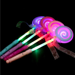 Wholesale Flashing Light Fairy Wands - LED Light-Up Lollipop Glow Sticks Girls Princess Flashing Fairy Wand Sticks Birthday Party Dress Decor 500pcs OOA2659