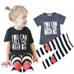 Wholesale Heart Shirt Girl Striped - Retail Letter Pattern Girls Clothing Set Bobo Choses Brand Baby Girl Clothes Short-sleeve T-shirt + Striped Heart Pattern Pants 2pcs Sets