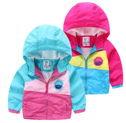 Wholesale Wholesale Mesh Jackets - Exquisite quality contrast color jacket for little girls zip outwear medium long style breathable mesh lining