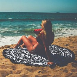 Wholesale Bath Mat Towelling - 11 Types Rayon Round Beach Towel With Tassels Yoga Mat Bath Towels Round Printed Bikini Covers Blankets