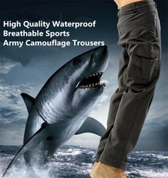 Wholesale Men S Shark Skin - High quality Men Lurker Shark skin Soft Shell Outdoor Military Tactical Hiking Pants Waterproof Windproof Sports Army camouflage Pants 4086