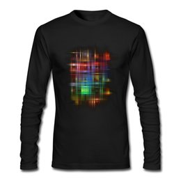 Wholesale Modern Clothing Patterns - Neon light on clothes men long-sleeves fall & winter tee shirt modern design shirt for man durable fine tops colorful pattern