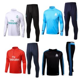 Wholesale Sweat Jogging - Real Madrid Soccer tracksuits 16 17 18 Best quality survetement football Marseille training suit sweat chandal soccer jogging football pant