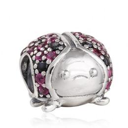 bijoux coccinelle Promotion Nouvelles perles de coccinelle avec cristal noir rouge Pave Animaux Perle 925 Sterling Silver Fine Jewelry Convient Européens Bracelets DIY Making HB142