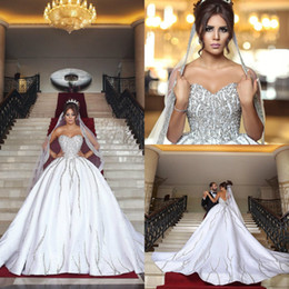 Wholesale Bling Satin Wedding Dresses - Luxury Bling Dubai Arabic Plus Size Wedding Dresses Beads Sequins Sweetheart Backless Sweep Train Country Wedding Dress With Matching Veils