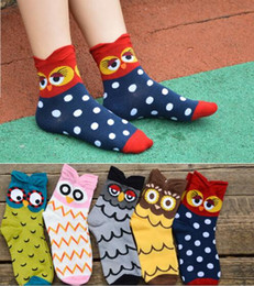 girls stereos Coupons - Korea Style Stereo Owl Socks Women Big Girl 100% Cotton Cartoon Socking Middle tube socks