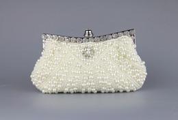 Wholesale Evening Dresses Bags - Super popular pearl with diamond evening bag Banquet bag dress bride bag clutch bag packet chain bag
