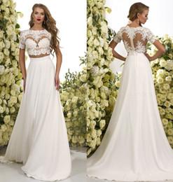 Wholesale romantic lines - 2017 Romantic Two Pieces Bohemian Wedding Dresses Lace Crop Chiffon Sweep Train A Line Beach Boho Bridal Gowns