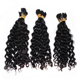 Wholesale Human Weaving Bulk - Factory Direct Loose Deep Wave Bulk Hair 3 Bundles lot Weave Good Hair Braid Peruvian Human Hair