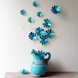 2019 pegatinas de flores 3d Pegatinas de pared 3D Espejo de colores Plata Flor Sticker Art Wall Mural Puerta Pegatinas de Pared Home Deco Moda Pegatinas de colores rebajas pegatinas de flores 3d