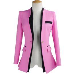 Wholesale Color Block Suit Jacket - 2017 New Arrival Women Suit Blazer Notched Collar Ladies Block Patchwork Jacket Long Slim Korean Ol Suit Jackets and Coat