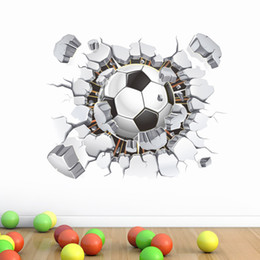 Wholesale Fire Walls - 3d Football Soccer Fire Playground Broken Wall Hole view quote goal home decals wall stickers for kids rooms boy sport wallpaper