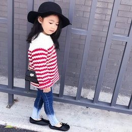 Wholesale 2t Girls Jeans - Retail 2017 Spring Autumn New Baby Girl Jeans Retro Boot Cut Denim Pants Long Trousers Children Clothes 1-6Y E1780
