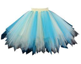 Wholesale Costumes Tutus For Women - Blue Yellow Rainbow Tutu Skirt for women Halloween Costume Cosplay Petticoats Crinoline Underskirt Half Slip Bubble Ball Gown Adult Skirt
