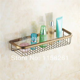 Wholesale Make Installation - 45cm Wall Mounted Antique finish Strong Brass Made Square Single Tier Easy Installation Bathroom Shelf Bathroom Basket KH-1067