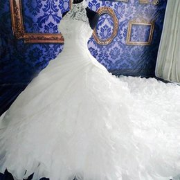 Wholesale Unique Garden - Vintage Ball Gown High Neck Wedding Dresses White Lace Unique Design Chiffon Wedding Party Dresses Bridal Gown