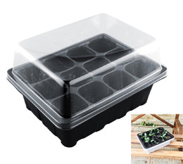 Wholesale Green Holes - 12PCS-PACK Wholesale Durable 12Cells Hole Nursery Pots Plant Seeds Grow Box Tray Insert Propagation Seeding Case Mini Flower pots plug trays