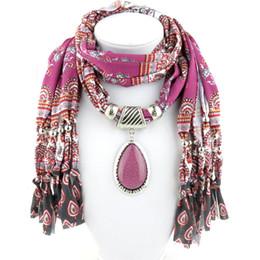 Wholesale winter scarves rhinestones - Wholesale- 2017New Women's Autumn Winter Scarves Colorful Print Pendant Necklace Scarf Rhinestone Charm Jewelry Tassel Warm Scarf Bufandas