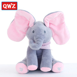 Wholesale Interactive Teddy - QWZ 30cm Top Quality Plush Animated Flappy Elephant PEEK-A-BOO Singing Baby Music Toys Ears Flaping Move Interactive Doll Gift