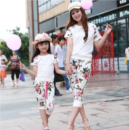Wholesale Mo Pants - Mother And Daughter Clothes Cotton Matching Family Outfits Family Clothing Mommy And Me T-shirt + Pants 2PCS Set Sport Suit Children Clothes