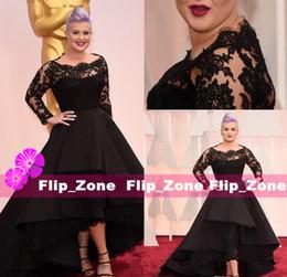 Wholesale Oscar Dress Knee Length - Black Lace Long Sleeves Hi-Lo Celebrity Formal Evening Dresses Sheer Bateau Neck 87th Oscar Awards Kelly Osbourne party Prom gowns Plus size